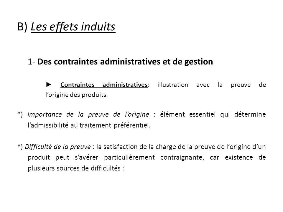 B) Les effets induits 1- Des contraintes administratives et de gestion Contraintes administratives: illustration avec la preuve de lorigine des produits.