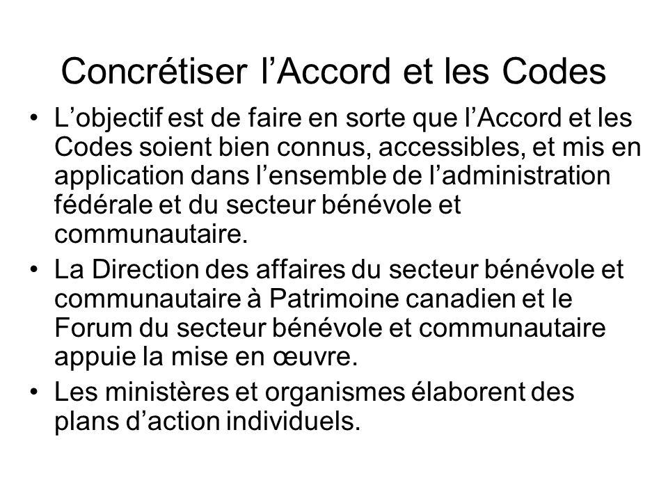 Concrétiser lAccord et les Codes Lobjectif est de faire en sorte que lAccord et les Codes soient bien connus, accessibles, et mis en application dans