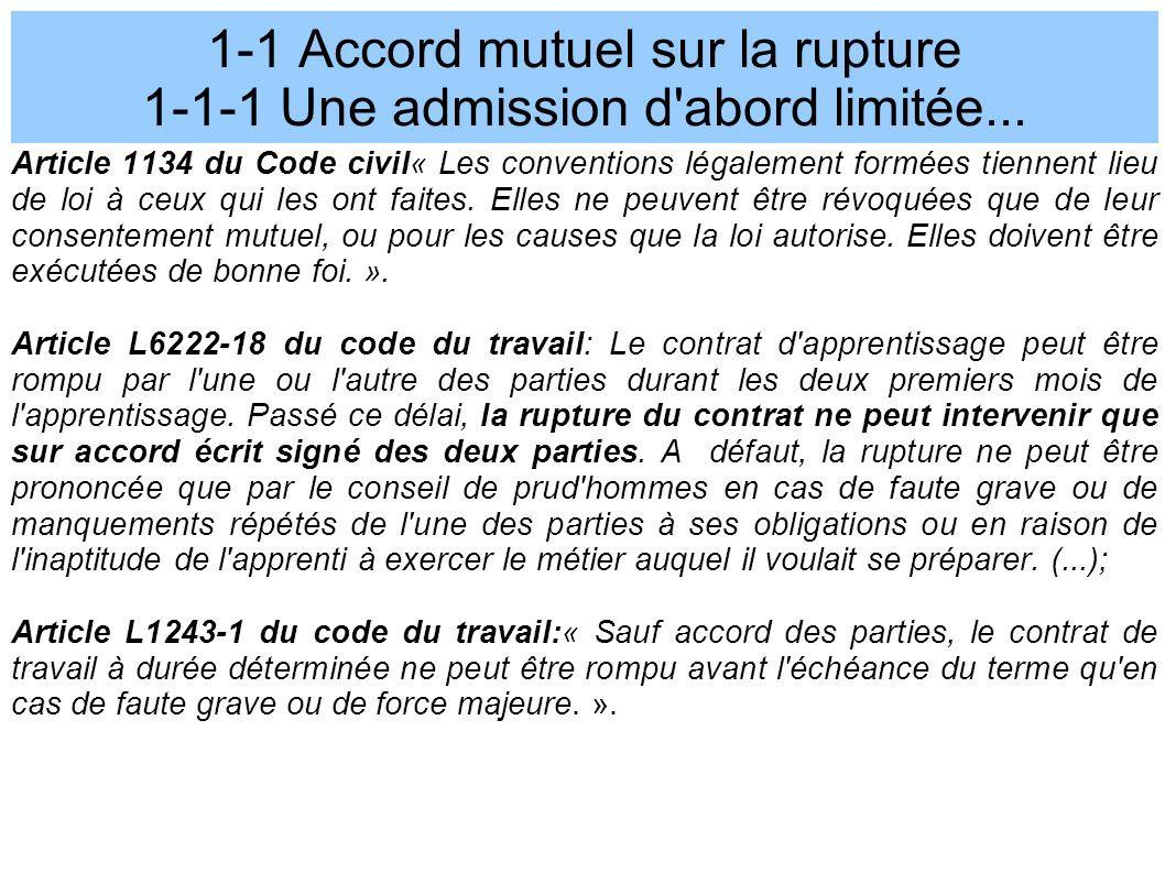 1-1 Accord mutuel sur la rupture 1-1-1 Une admission d abord limitée...