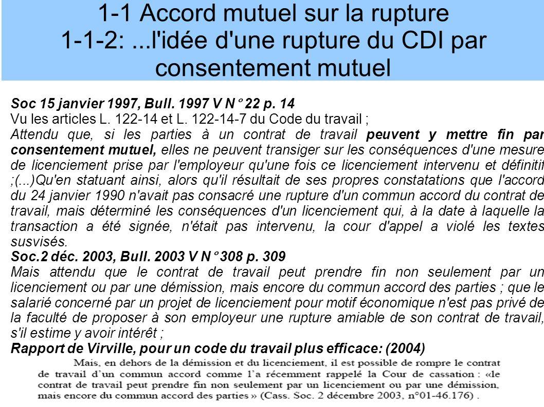 1-1 Accord mutuel sur la rupture 1-1-2:...l idée d une rupture du CDI par consentement mutuel Soc 15 janvier 1997, Bull.