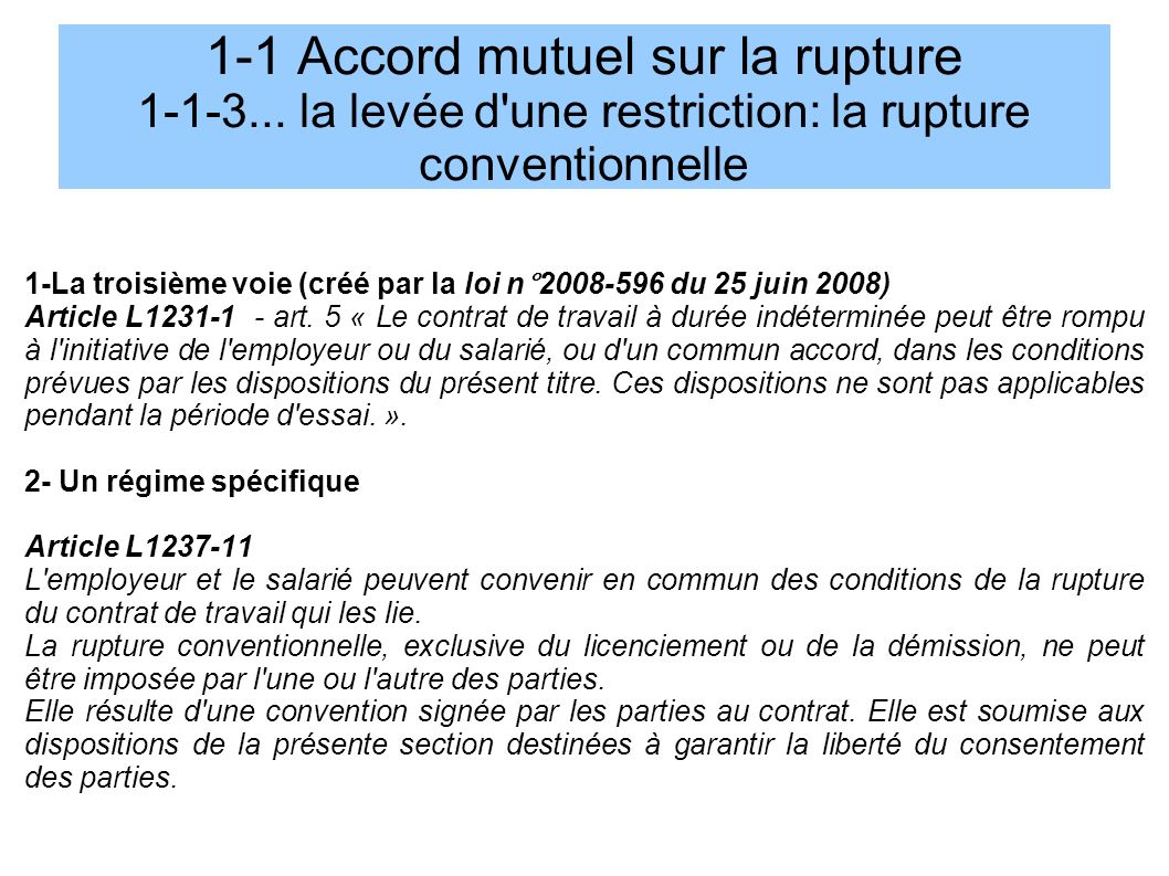 1-1 Accord mutuel sur la rupture 1-1-3...