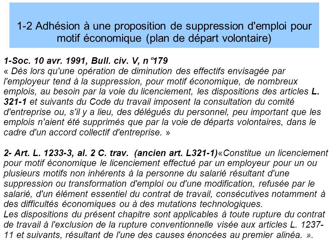 1-2 Adhésion à une proposition de suppression d emploi pour motif économique (plan de départ volontaire) 1-Soc.