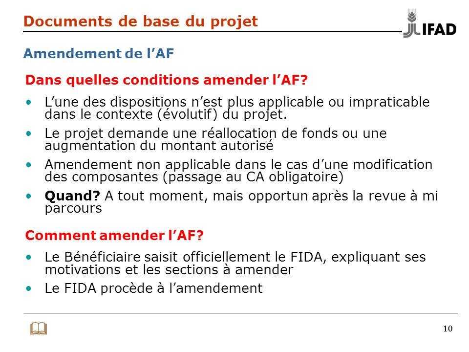10 Documents de base du projet Amendement de lAF Dans quelles conditions amender lAF? Lune des dispositions nest plus applicable ou impraticable dans