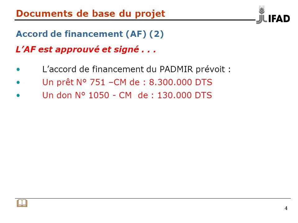 444 Documents de base du projet Accord de financement (AF) (2) Laccord de financement du PADMIR prévoit : Un prêt N° 751 –CM de : 8.300.000 DTS Un don N° 1050 - CM de : 130.000 DTS LAF est approuvé et signé...