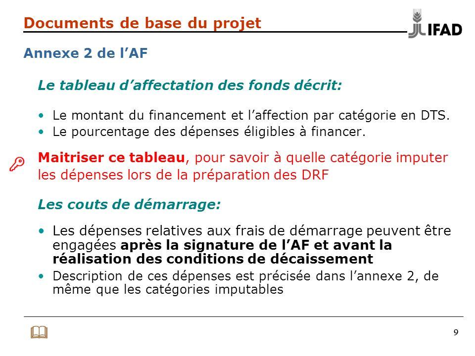 999 Documents de base du projet Annexe 2 de lAF Le tableau daffectation des fonds décrit: Le montant du financement et laffection par catégorie en DTS