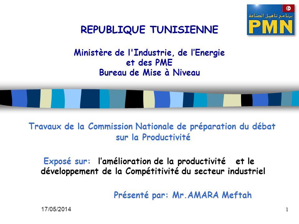17/05/20141 REPUBLIQUE TUNISIENNE Ministère de l'Industrie, de lEnergie et des PME Bureau de Mise à Niveau Travaux de la Commission Nationale de prépa