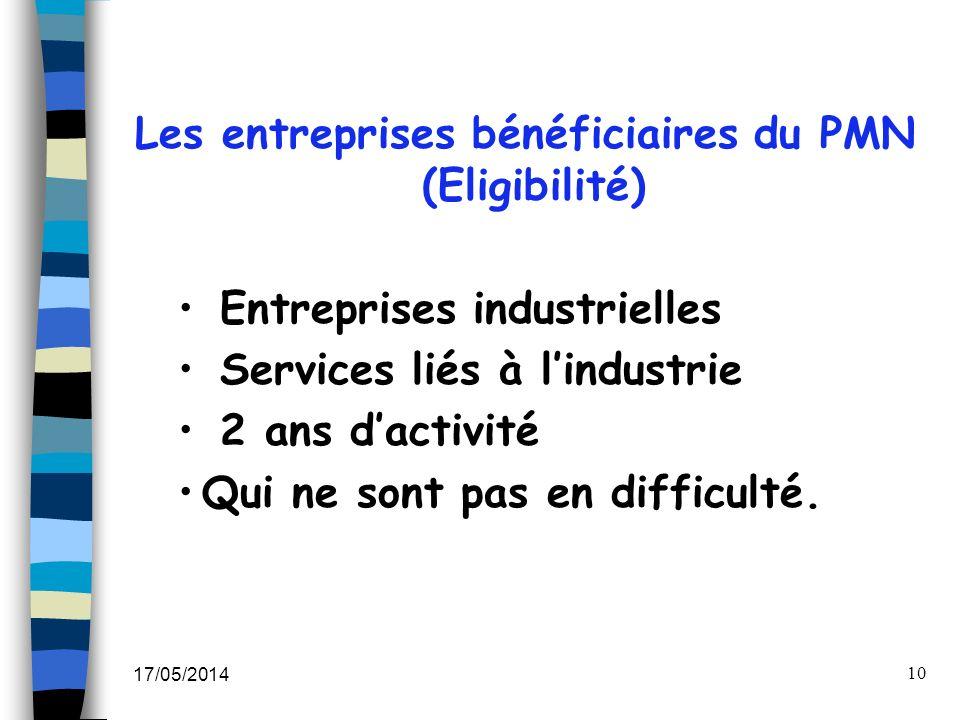 17/05/2014 10 Les entreprises bénéficiaires du PMN (Eligibilité) Entreprises industrielles Services liés à lindustrie 2 ans dactivité Qui ne sont pas