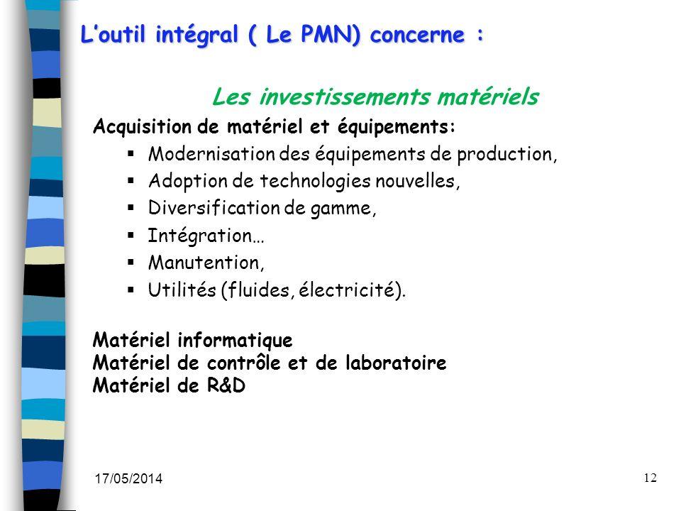 17/05/2014 12 Les investissements matériels Acquisition de matériel et équipements: Modernisation des équipements de production, Adoption de technolog