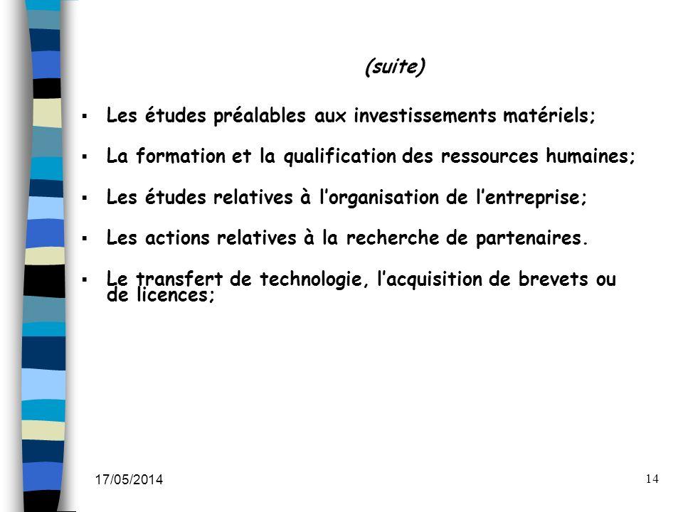 17/05/2014 14 (suite) Les études préalables aux investissements matériels; La formation et la qualification des ressources humaines; Les études relati