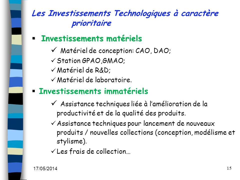 17/05/2014 15 Les Investissements Technologiques à caractère prioritaire Investissements matériels Investissements matériels Matériel de conception: C