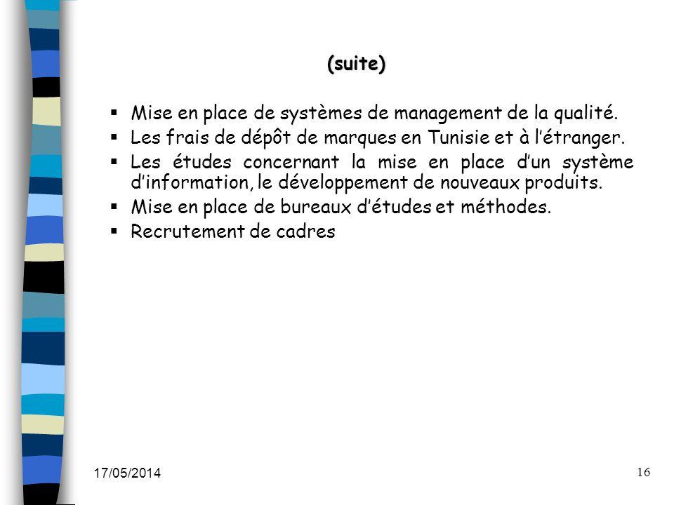 17/05/2014 16 (suite) Mise en place de systèmes de management de la qualité. Les frais de dépôt de marques en Tunisie et à létranger. Les études conce