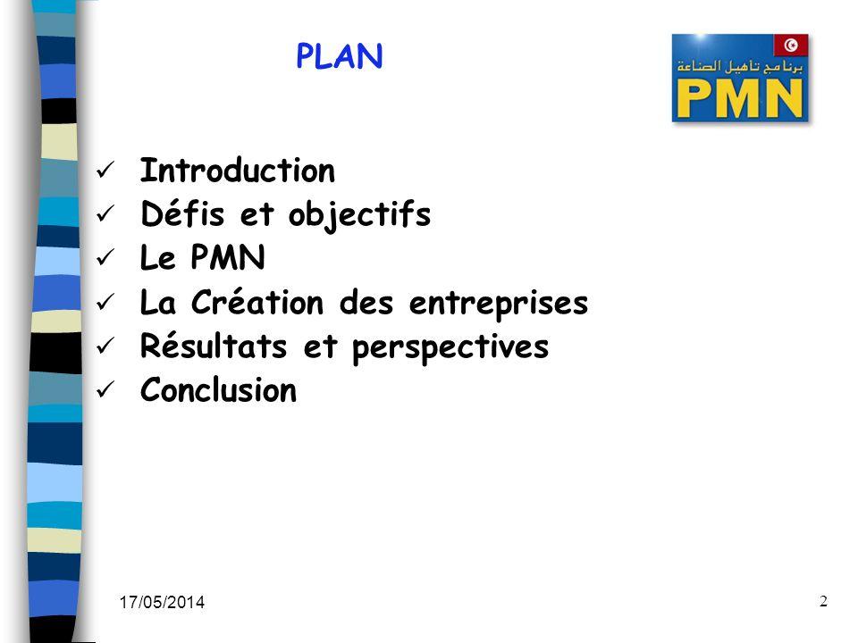 17/05/2014 2 PLAN Introduction Défis et objectifs Le PMN La Création des entreprises Résultats et perspectives Conclusion
