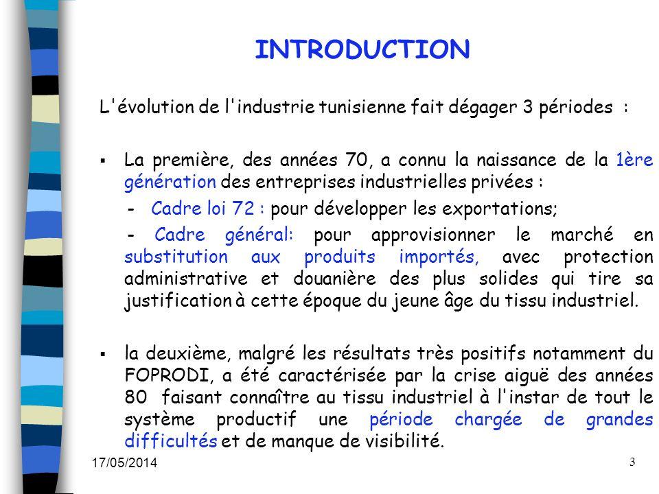 17/05/2014 3 INTRODUCTION L'évolution de l'industrie tunisienne fait dégager 3 périodes : La première, des années 70, a connu la naissance de la 1ère