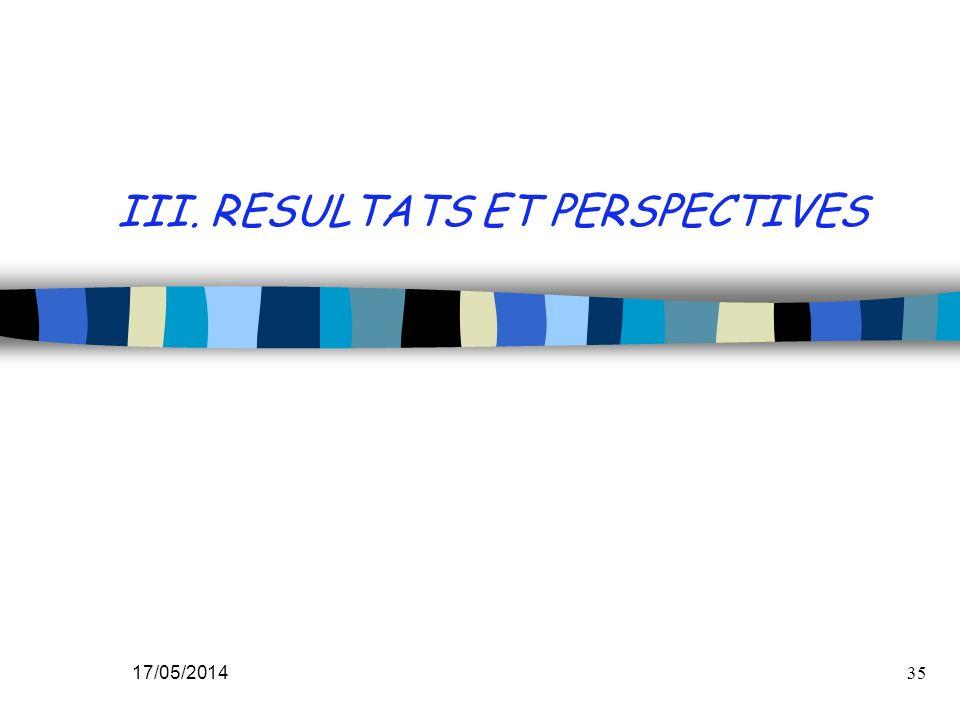17/05/201435 III. RESULTATS ET PERSPECTIVES