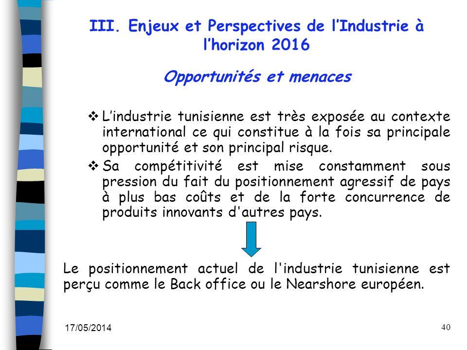 17/05/2014 40 Opportunités et menaces Lindustrie tunisienne est très exposée au contexte international ce qui constitue à la fois sa principale opport