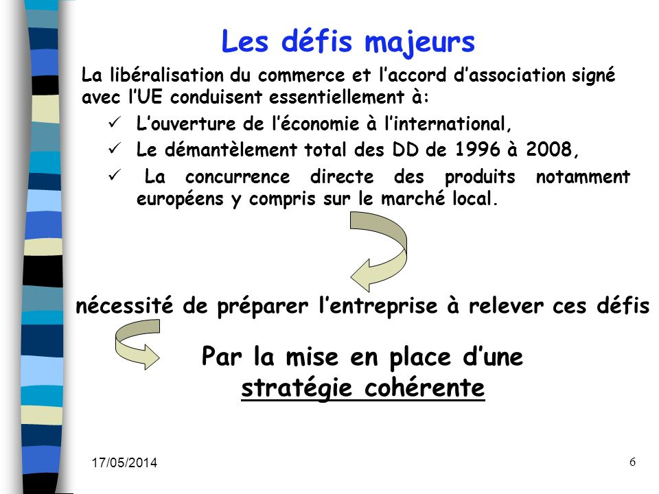 17/05/2014 6 Les défis majeurs nécessité de préparer lentreprise à relever ces défis Par la mise en place dune stratégie cohérente La libéralisation d