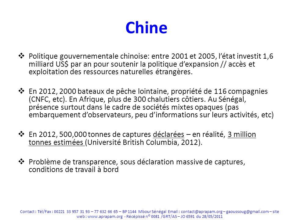Chine Politique gouvernementale chinoise: entre 2001 et 2005, létat investit 1,6 milliard US$ par an pour soutenir la politique dexpansion // accès et exploitation des ressources naturelles étrangères.