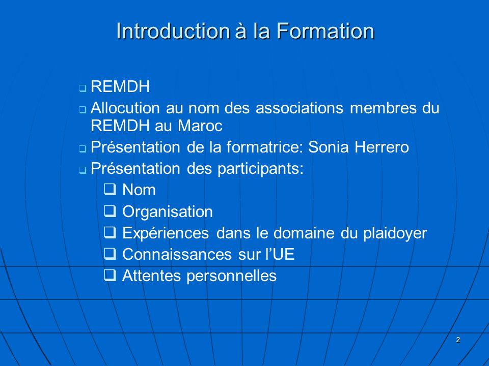 3 Plan de la Formation Le Plaidoyer droits de lhomme dans les relations UE-Maroc Introduction Le Plaidoyer DH dans les Institutions de lUnion Européenne Développement dune stratégie de plaidoyer Evaluation de la journée Techniques du Plaidoyer/ Expériences de plaidoyer