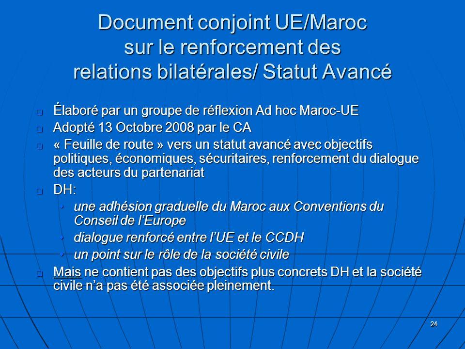 24 Document conjoint UE/Maroc sur le renforcement des relations bilatérales/ Statut Avancé Élaboré par un groupe de réflexion Ad hoc Maroc-UE Élaboré par un groupe de réflexion Ad hoc Maroc-UE Adopté 13 Octobre 2008 par le CA Adopté 13 Octobre 2008 par le CA « Feuille de route » vers un statut avancé avec objectifs politiques, économiques, sécuritaires, renforcement du dialogue des acteurs du partenariat « Feuille de route » vers un statut avancé avec objectifs politiques, économiques, sécuritaires, renforcement du dialogue des acteurs du partenariat DH: DH: une adhésion graduelle du Maroc aux Conventions du Conseil de lEuropeune adhésion graduelle du Maroc aux Conventions du Conseil de lEurope dialogue renforcé entre lUE et le CCDHdialogue renforcé entre lUE et le CCDH un point sur le rôle de la société civileun point sur le rôle de la société civile Mais ne contient pas des objectifs plus concrets DH et la société civile na pas été associée pleinement.