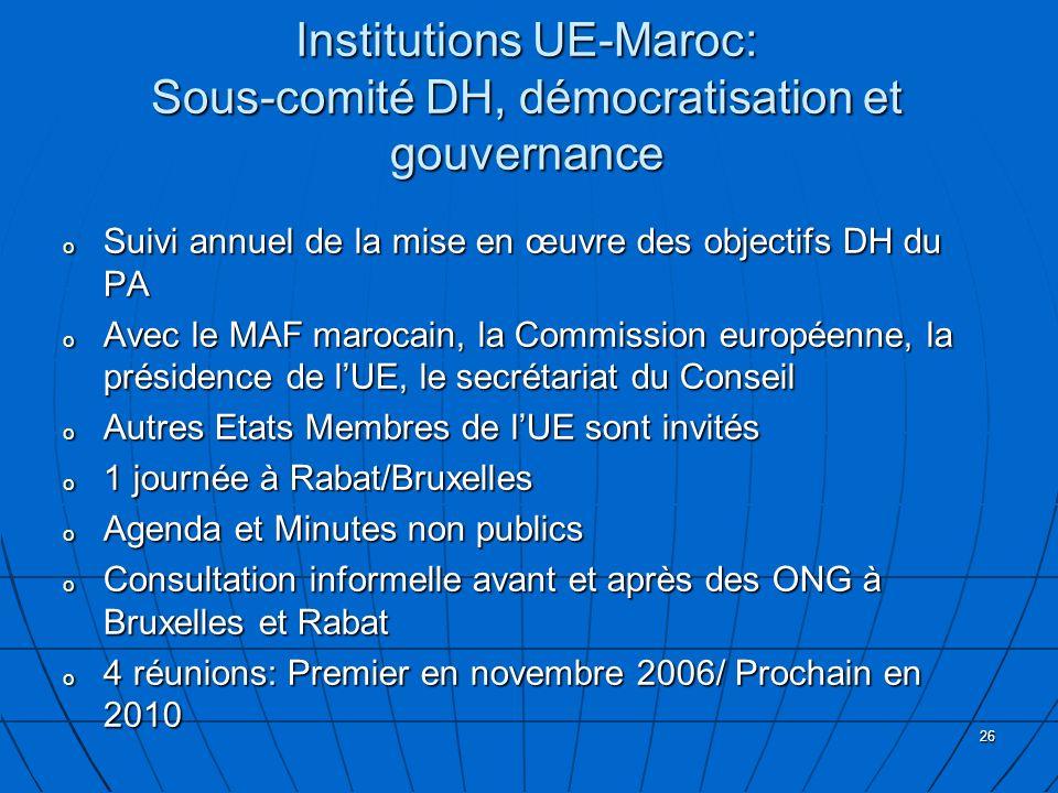 26 Institutions UE-Maroc: Sous-comité DH, démocratisation et gouvernance o Suivi annuel de la mise en œuvre des objectifs DH du PA o Avec le MAF marocain, la Commission européenne, la présidence de lUE, le secrétariat du Conseil o Autres Etats Membres de lUE sont invités o 1 journée à Rabat/Bruxelles o Agenda et Minutes non publics o Consultation informelle avant et après des ONG à Bruxelles et Rabat o 4 réunions: Premier en novembre 2006/ Prochain en 2010