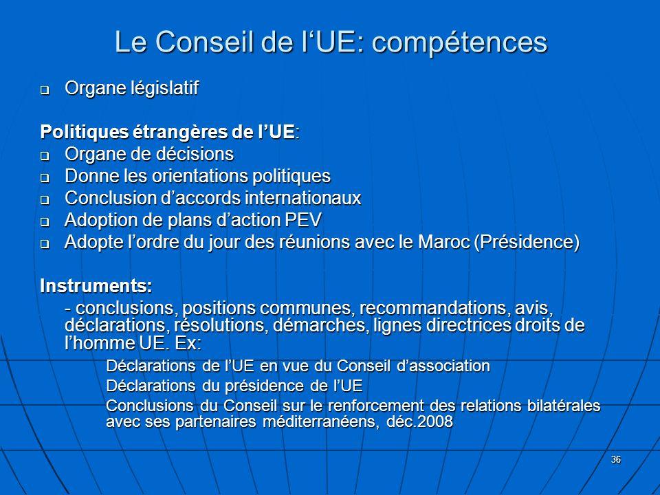 36 Le Conseil de lUE: compétences Organe législatif Organe législatif Politiques étrangères de lUE: Organe de décisions Organe de décisions Donne les