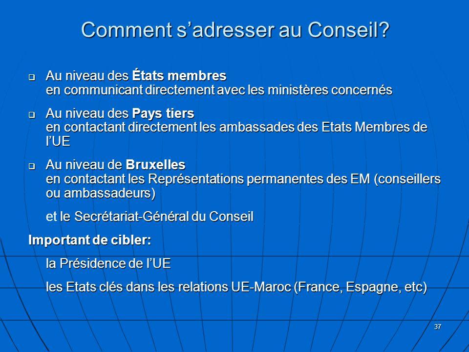37 Au niveau des États membres en communicant directement avec les ministères concernés Au niveau des États membres en communicant directement avec les ministères concernés Au niveau des Pays tiers en contactant directement les ambassades des Etats Membres de lUE Au niveau des Pays tiers en contactant directement les ambassades des Etats Membres de lUE Au niveau de Bruxelles en contactant les Représentations permanentes des EM (conseillers ou ambassadeurs) Au niveau de Bruxelles en contactant les Représentations permanentes des EM (conseillers ou ambassadeurs) le Secrétariat-Général du Conseil et le Secrétariat-Général du Conseil Important de cibler: la Présidence de lUE les Etats clés dans les relations UE-Maroc (France, Espagne, etc) Comment sadresser au Conseil?
