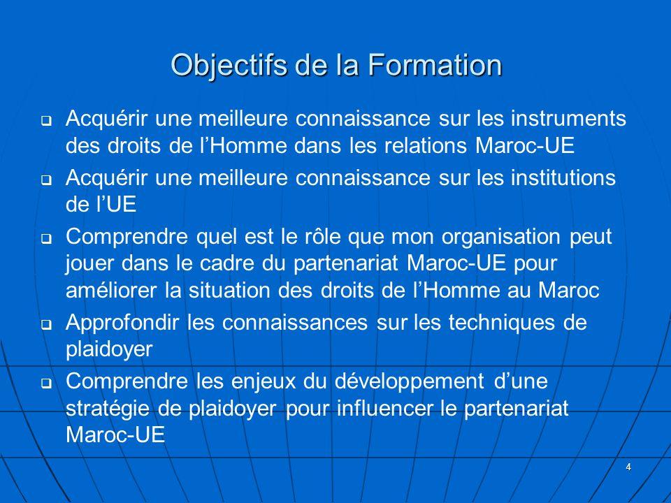 4 Objectifs de la Formation Acquérir une meilleure connaissance sur les instruments des droits de lHomme dans les relations Maroc-UE Acquérir une meilleure connaissance sur les institutions de lUE Comprendre quel est le rôle que mon organisation peut jouer dans le cadre du partenariat Maroc-UE pour améliorer la situation des droits de lHomme au Maroc Approfondir les connaissances sur les techniques de plaidoyer Comprendre les enjeux du développement dune stratégie de plaidoyer pour influencer le partenariat Maroc-UE