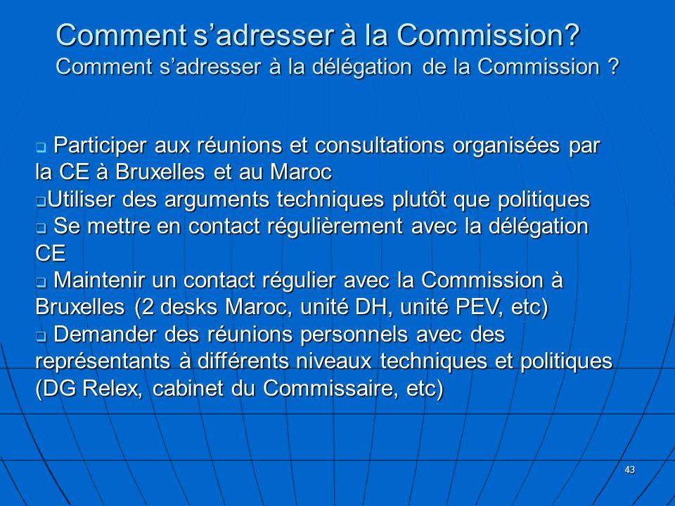 43 Comment sadresser à la Commission? Comment sadresser à la délégation de la Commission ? Participer aux réunions et consultations organisées par la