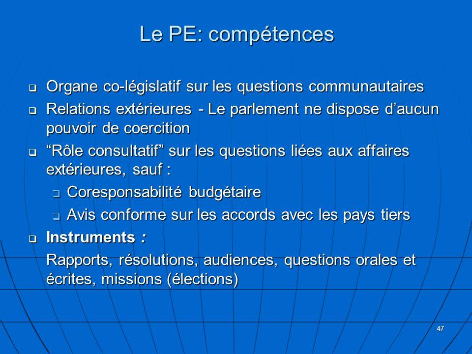 47 Le PE: compétences Organe co-législatif sur les questions communautaires Organe co-législatif sur les questions communautaires Relations extérieure