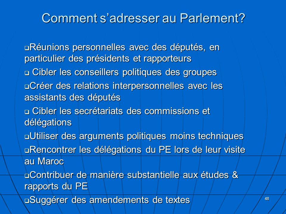 48 Comment sadresser au Parlement? Réunions personnelles avec des députés, en particulier des présidents et rapporteurs Réunions personnelles avec des