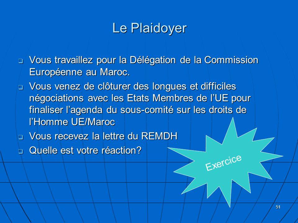 51 Le Plaidoyer Vous travaillez pour la Délégation de la Commission Européenne au Maroc. Vous travaillez pour la Délégation de la Commission Européenn
