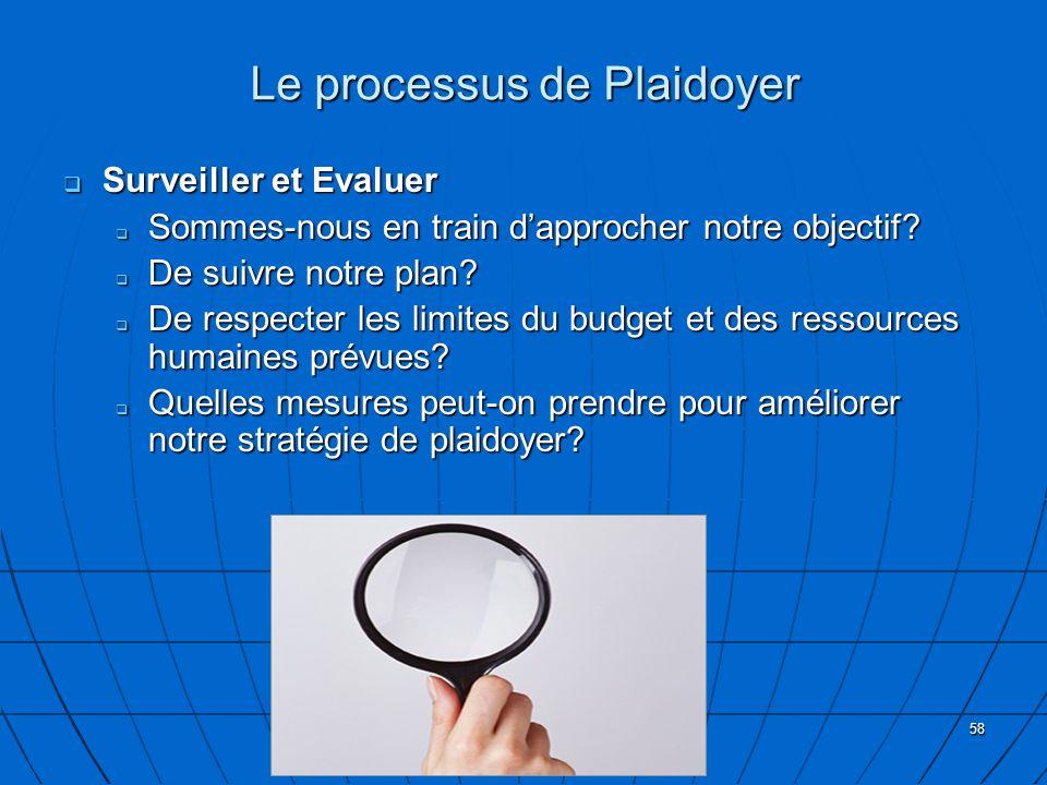 58 Le processus de Plaidoyer Surveiller et Evaluer Surveiller et Evaluer Sommes-nous en train dapprocher notre objectif? Sommes-nous en train dapproch