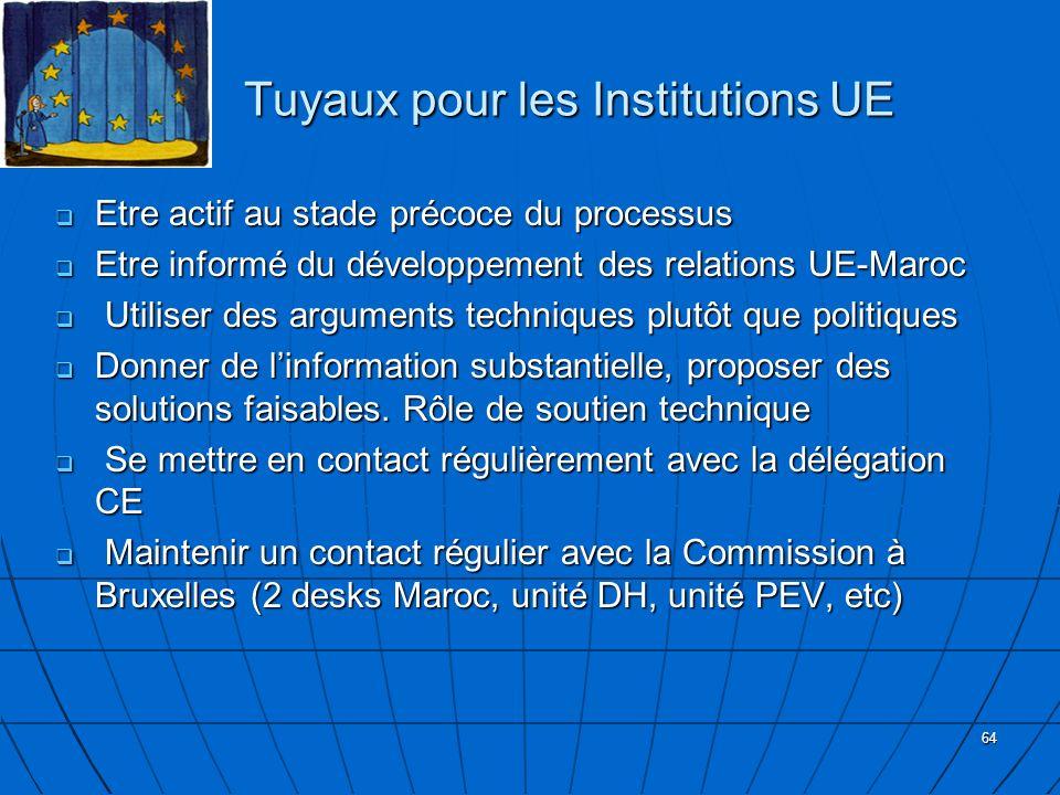 64 Tuyaux pour les Institutions UE Tuyaux pour les Institutions UE Etre actif au stade précoce du processus Etre actif au stade précoce du processus E