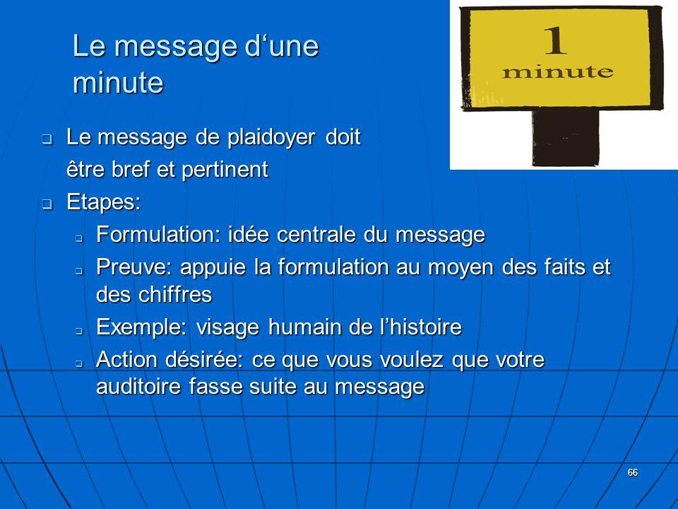 66 Le message dune minute Le message de plaidoyer doit Le message de plaidoyer doit être bref et pertinent Etapes: Etapes: Formulation: idée centrale