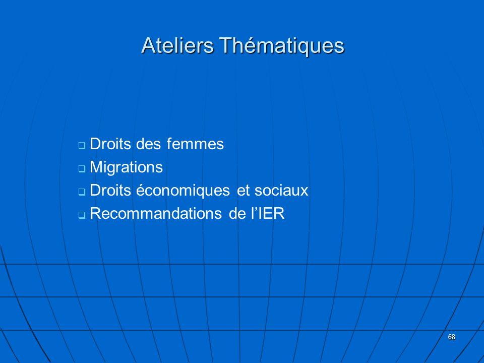 68 Ateliers Thématiques Droits des femmes Migrations Droits économiques et sociaux Recommandations de lIER