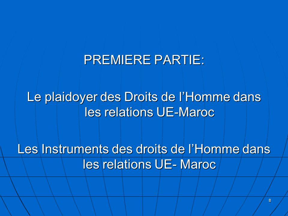 8 PREMIERE PARTIE: Le plaidoyer des Droits de lHomme dans les relations UE-Maroc Les Instruments des droits de lHomme dans les relations UE- Maroc