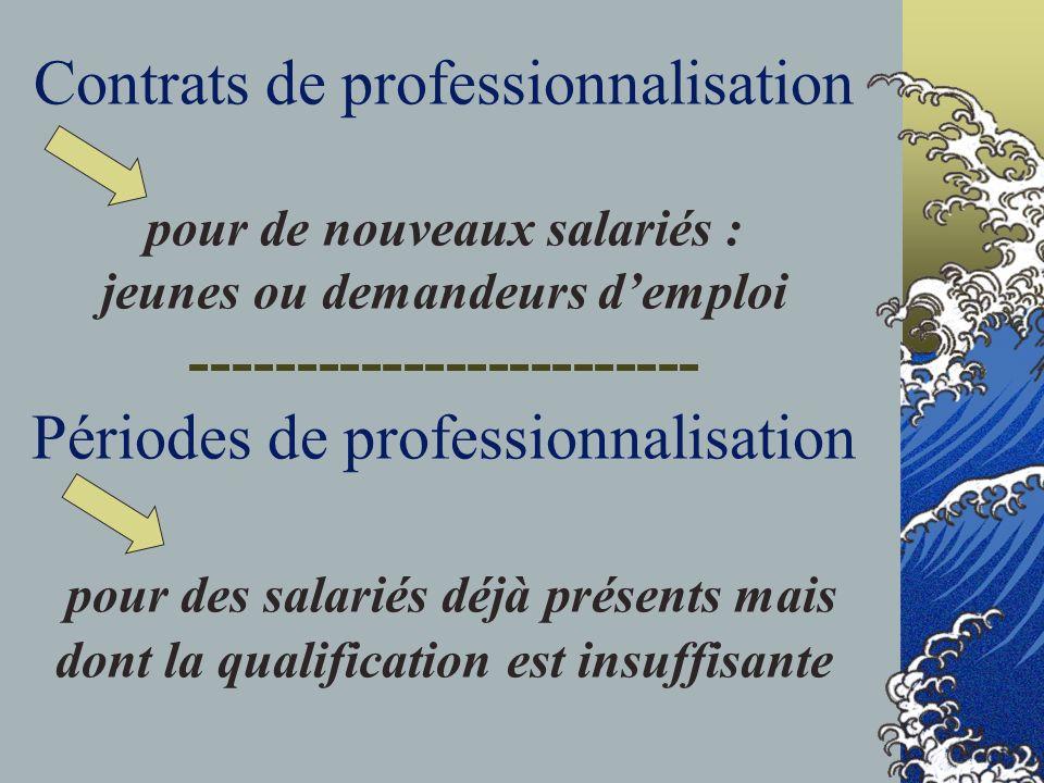 Contrats de professionnalisation pour de nouveaux salariés : jeunes ou demandeurs demploi ------------------------ Périodes de professionnalisation pour des salariés déjà présents mais dont la qualification est insuffisante