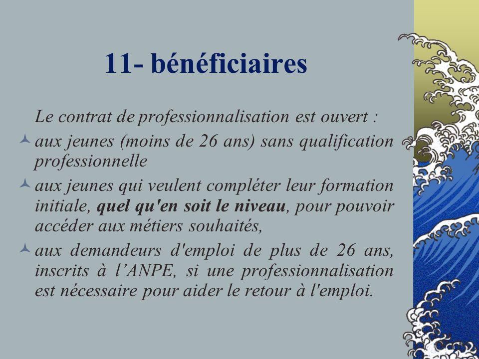 11- bénéficiaires Le contrat de professionnalisation est ouvert : aux jeunes (moins de 26 ans) sans qualification professionnelle aux jeunes qui veule