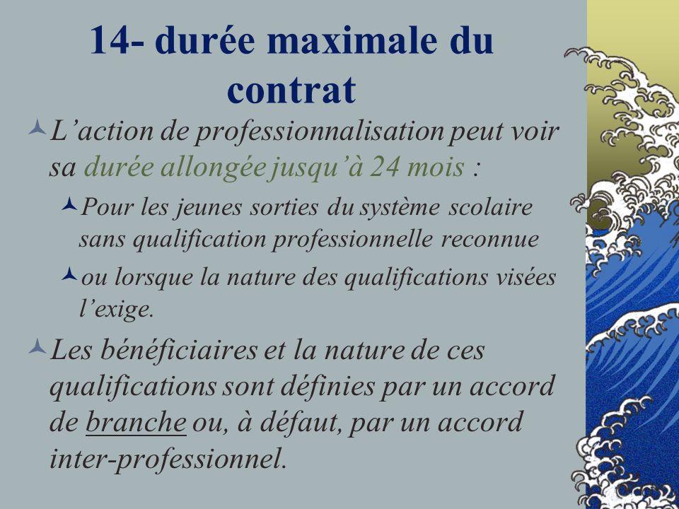 14- durée maximale du contrat Laction de professionnalisation peut voir sa durée allongée jusquà 24 mois : Pour les jeunes sorties du système scolaire sans qualification professionnelle reconnue ou lorsque la nature des qualifications visées lexige.