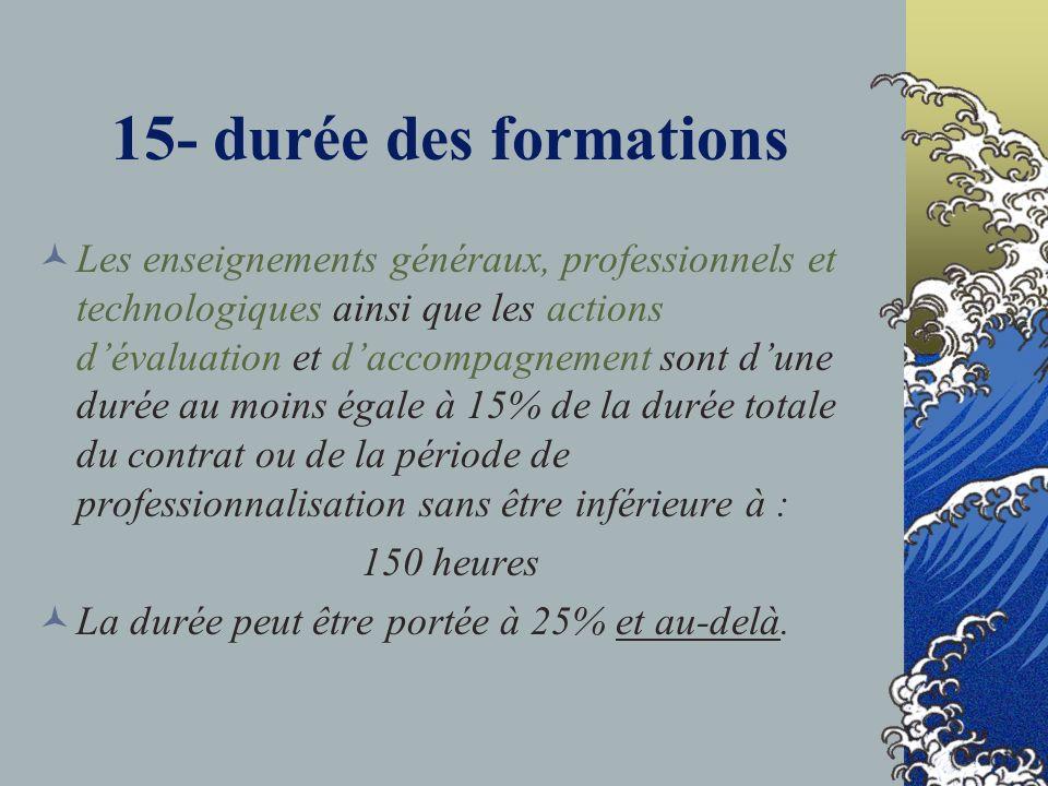 15- durée des formations Les enseignements généraux, professionnels et technologiques ainsi que les actions dévaluation et daccompagnement sont dune d