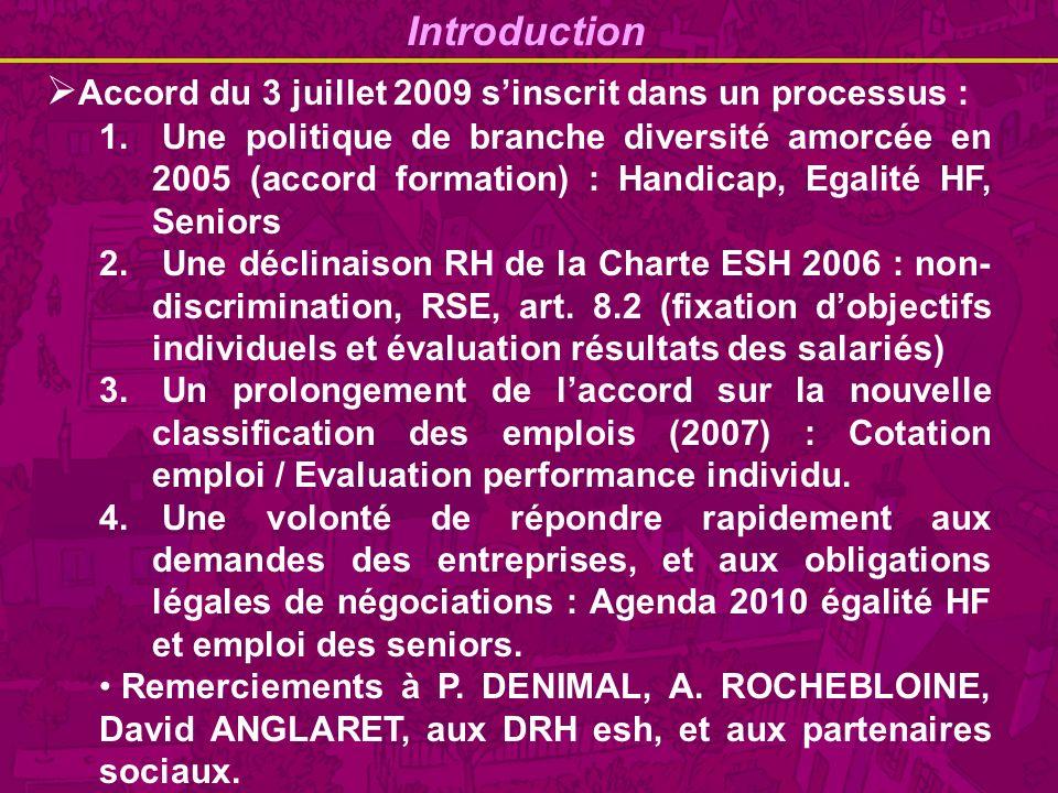 Introduction Accord du 3 juillet 2009 sinscrit dans un processus : 1.