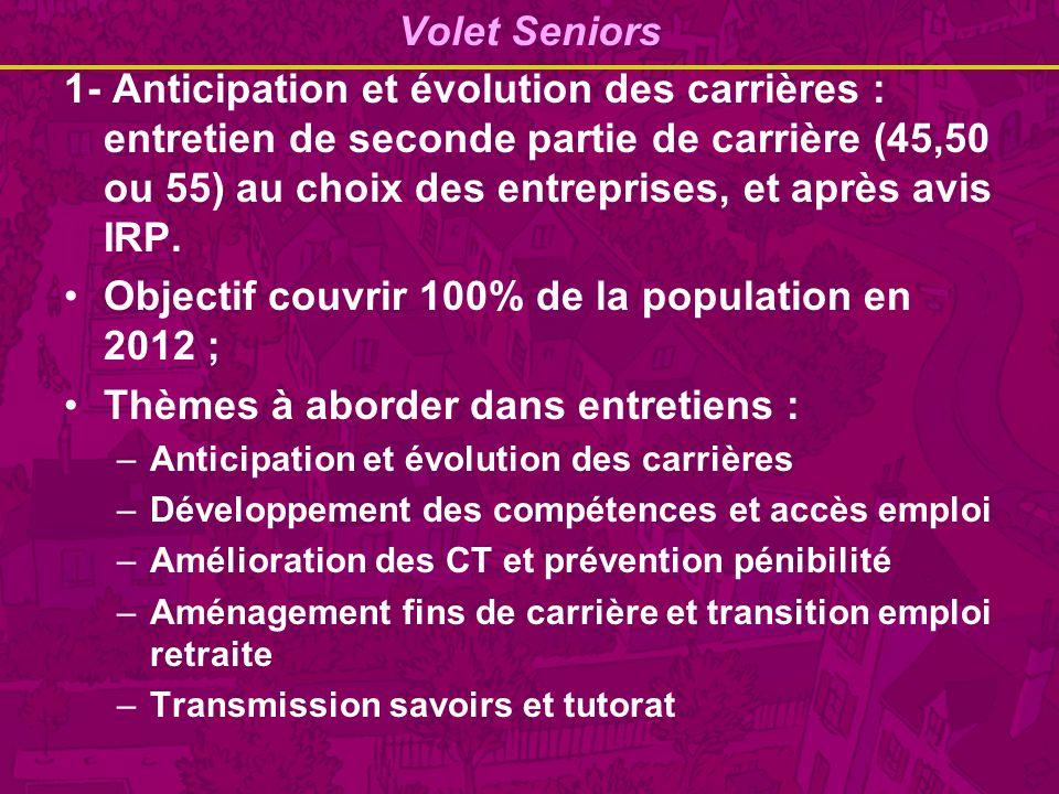 Volet Seniors 1- Anticipation et évolution des carrières : entretien de seconde partie de carrière (45,50 ou 55) au choix des entreprises, et après avis IRP.