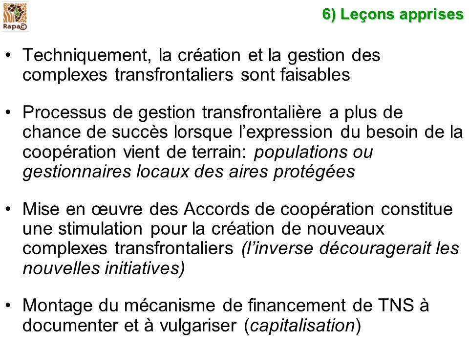 6) Leçons apprises Techniquement, la création et la gestion des complexes transfrontaliers sont faisables Processus de gestion transfrontalière a plus