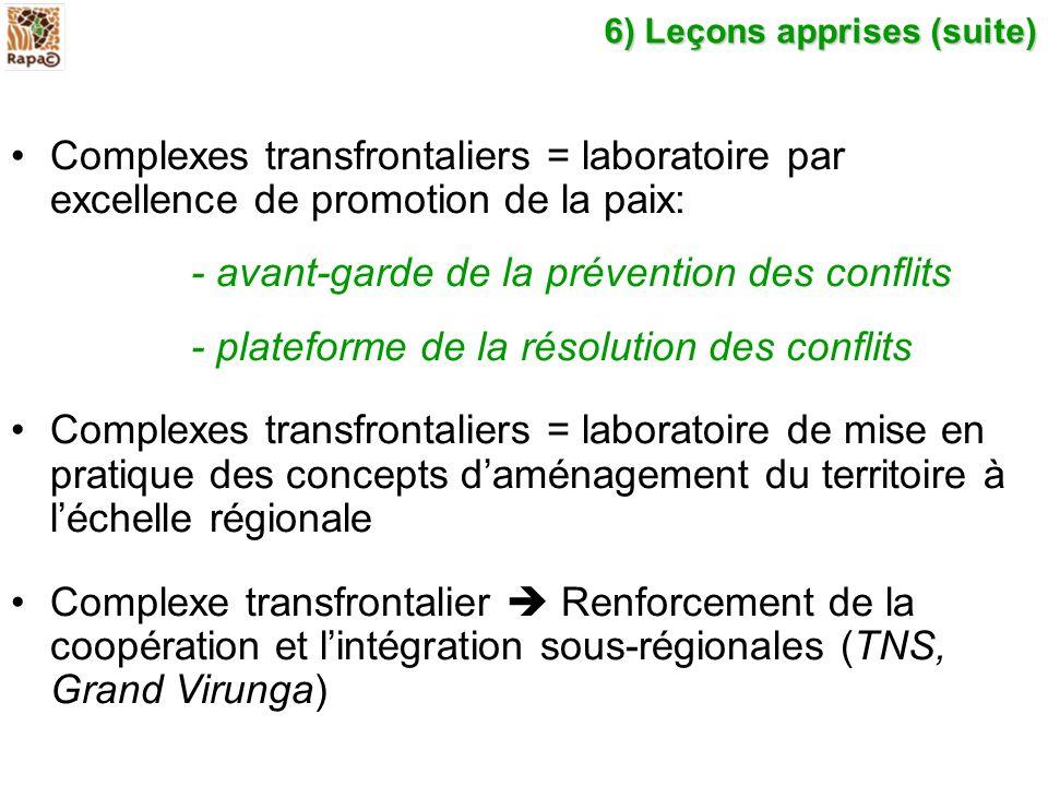 6) Leçons apprises (suite) Complexes transfrontaliers = laboratoire par excellence de promotion de la paix: - avant-garde de la prévention des conflit