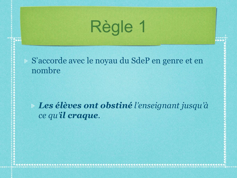 Règle 1 S accorde avec le noyau du SdeP en genre et en nombre Les élèves ont obstiné l enseignant jusqu à ce qu il craque.
