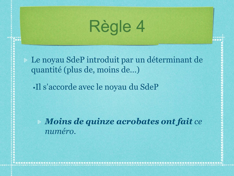 Règle 4 Le noyau SdeP introduit par un déterminant de quantité (plus de, moins de…) Il s accorde avec le noyau du SdeP Moins de quinze acrobates ont f