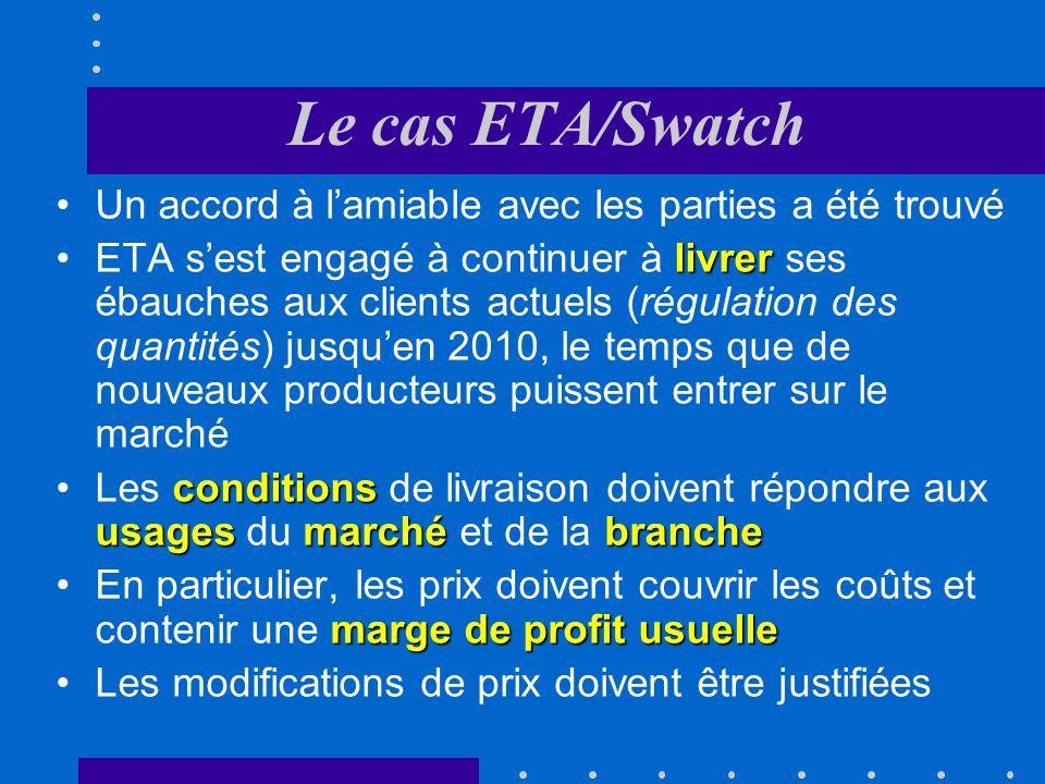 Le cas ETA/Swatch ETA refuse de livrer des ébauches à des producteurs horlogers qui se trouvent en concurrence sur le marché des montres avec lentrepr