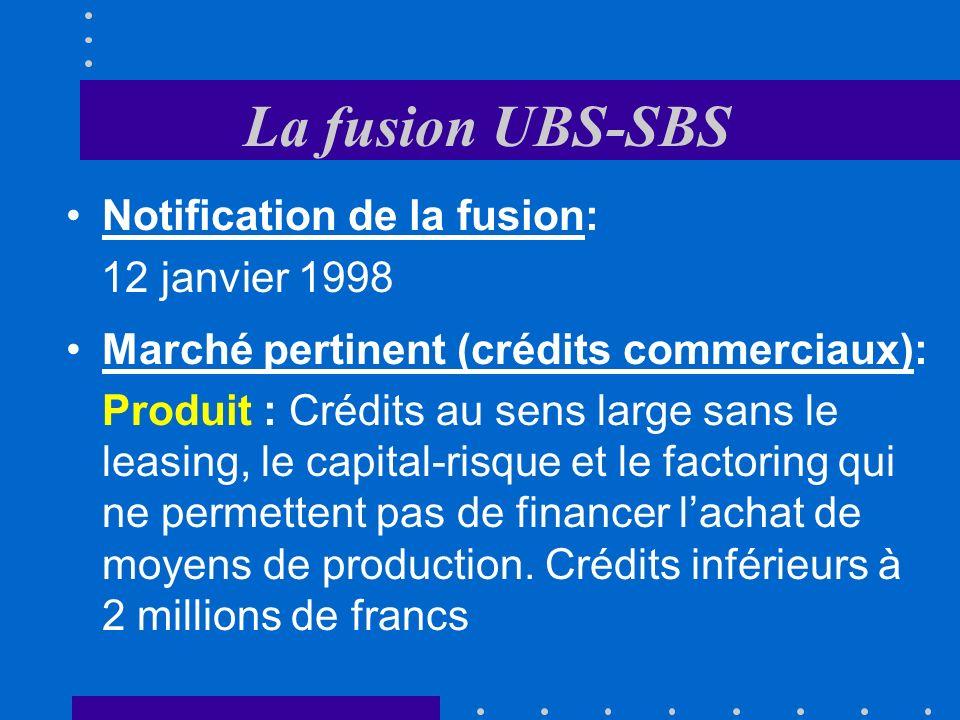 Exemples de fusions 1.« NQ » - « JdG »: acceptée avec charge 2.UBS - SBS: acceptée avec charge 3.« GE-Capital » - « Procrédit »: acceptée 4.« Bell » - « SEG »: acceptée sous conditions 5.