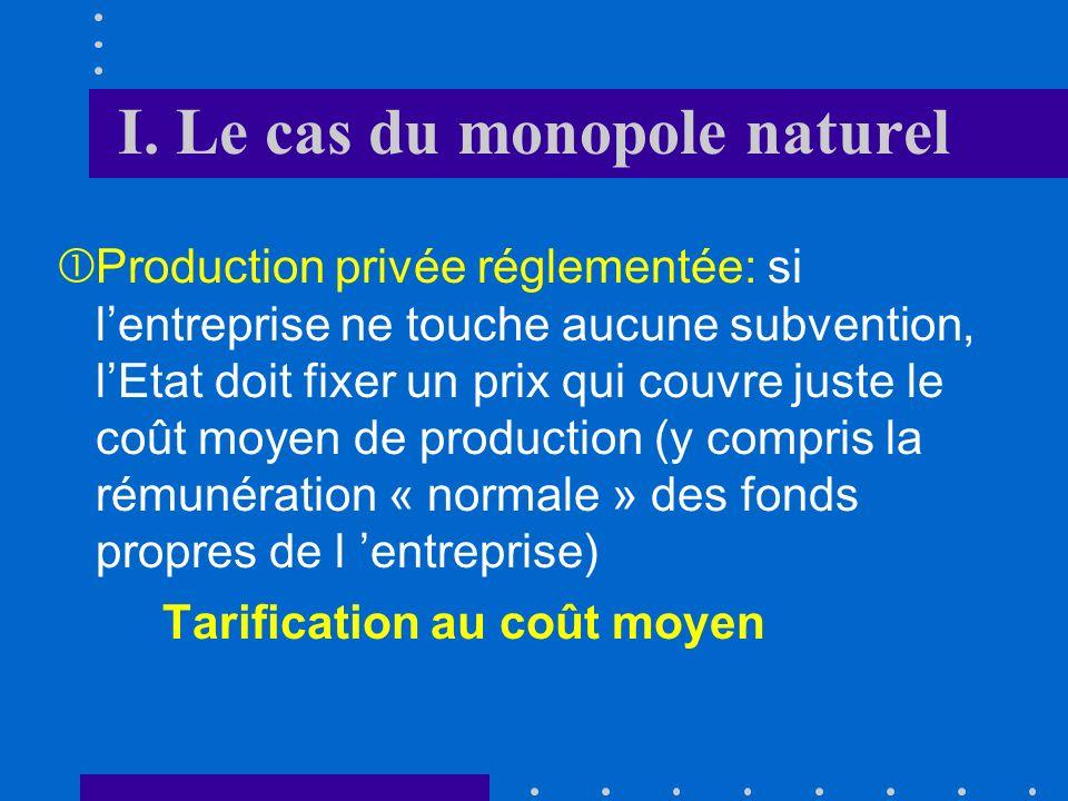 I. Le cas du monopole naturel Dans ces circonstances, le marché va tendre naturellement vers un monopole et la structure des coûts empêche lentrée de