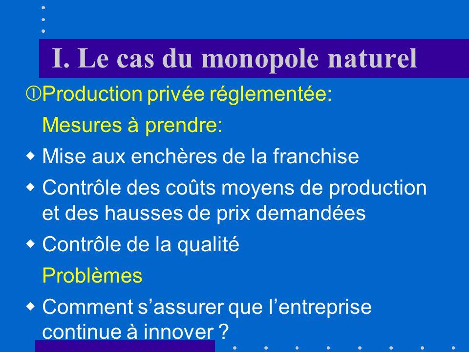 I. Le cas du monopole naturel Production privée réglementée: si lentreprise ne touche aucune subvention, lEtat doit fixer un prix qui couvre juste le
